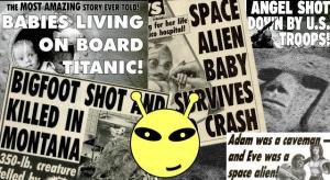 """Erstunken und erlogen: Die 311 verrücktesten Meldungen und Berichte der Zeitung """"Weekly World News"""" (Bild: Archiv L.A. Fischinger / """"WWN"""")"""