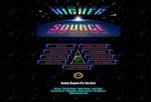 """""""Higher Source"""": die Internet-Firma der UFO-Sekte Heavens Gate aus den 1990er Jahren (Bild: archive.org)"""