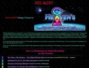"""""""Roter Alarm"""" auf der Webseite der UFO-Sekte Heavens Gate: Ein UFO kommt! (Bild: archive.org)"""