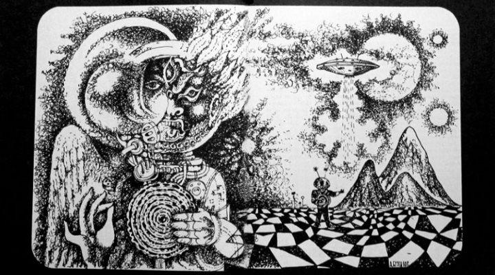 """Titelbild des Artikels """"Wissenschaft oder Phantasie? Sendboten aus dem Kosmos"""" von Wjatscheslaw Saizew aus Sputnik 1/1967, Frankreich (Bearbeitung: Fischinger-Online)"""