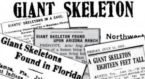 Gab es einst Giganten auf der Erde? (Collage aus alten Zeitungsberichten, Archiv L. A. Fischinger)