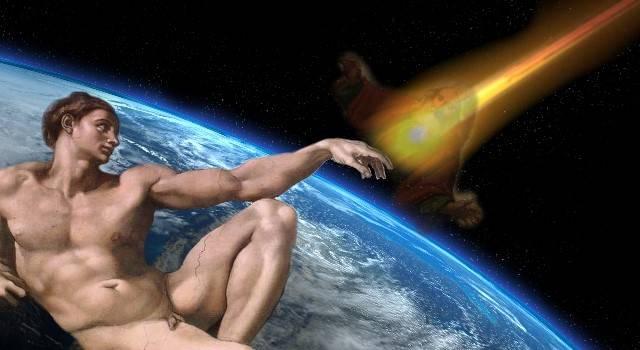 """In Russland gründete sich eine """"Kirche des Tscheljabinsker Meteoriten"""" (Bild: NASA/JPL / gemeinfrei / Montage: L. A. Fischinger"""