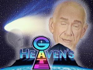 """Logo der UFO-Sekte """"HEAVENS GATE"""", der Komet Hale-Bopp und der Sektenchef M. Applewhite (Bild: WikiCommons / L.A. Fischinger)"""