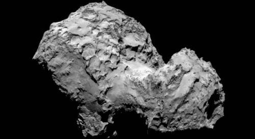"""Der Komet 67P. Aufgenommen am 3. 8. 2014 von der Raumsonde """"Rosetta"""": Spuren von Aliens? (Bild: ESA/Rosetta/MPS for OSIRIS Team MPS/UPD/LAM/IAA/SSO/INTA/UPM/DASP/IDA)"""