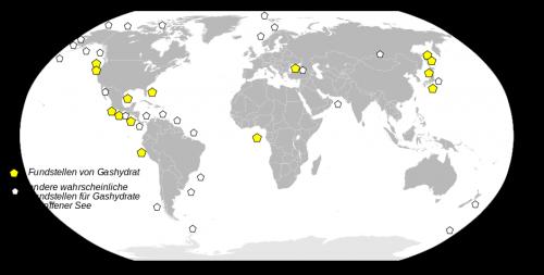 Bekannte und vermutete Lagerstätten von Methanhydrat. Nicht nur im Bermuda-Dreieck. (Bild: gemeinfrei)