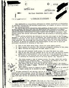 """Das """"FBI-Papier 6751"""" vom 8. Juli 1947 (Bild: FBI / gemeinfrei)"""