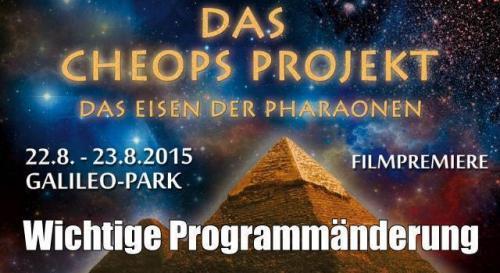 """Kongress """"Das Cheops-Projekt"""" im August in Lennestadt: Programmänderung (Bild: Galileo-Park)"""