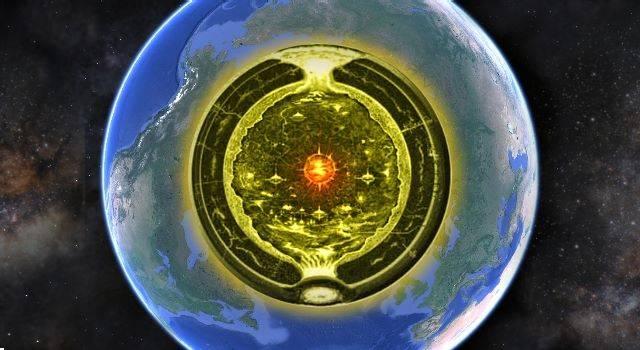 Expedition in das (bewohnte) Innere der Erde scheiterte an der Finanzierung (Bild: Google Earth / gemeinfrei / Montage L. A. Fischinger)