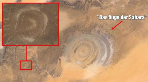 """""""Das Auge der Sahara"""" (Bild: Google Earth / Montage: L. A. Fischinger)"""