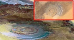 """Das """"Auge Afrikas"""" in Mauretanien: ist die ca. 40 Kilometer riesige Kreisstruktur wirklich von Menschenhand? (Bild: Google Earth / static.panoramio.com)"""