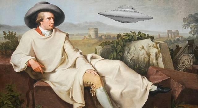 Johann Wolfgang von Goethe - eine Deutsche Legende: Sah er als Teenager eine UFO-Landung? (Bild: gemeinfrei / Montage: L. A. Fischinger)