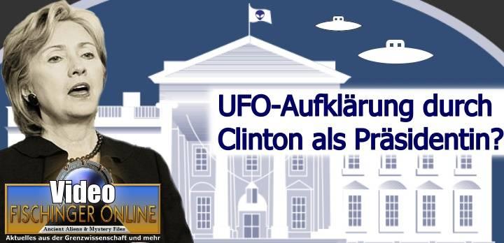 Wird Hillary Clinton - wenn sie Präsidentin der USA werden sollte - die UFO-Geheimhaltung wirklich beenden? (Bild: Gemeinfrei/WikiCommons / Montage: L. A. Fischinger)