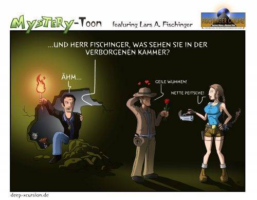 Mystery-Toons #11: Lars A. Fischinger vs. Indiana Jones und Lara Croft (Bild: H. Stehr / Deep-Xcursion.de)