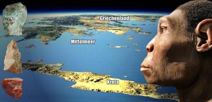 Vor 130.000 Jahren gelangten unsere Ahnen auf die Insel Kreta - per Boot (Bild: Google Earth / The Plakias Project / WikiCommons / Montage: L. A. Fischinger)