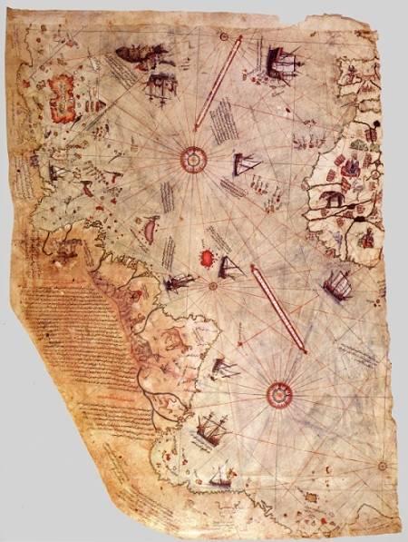 Die Weltkarte des Piri Reis von 1513 als Poster im Großformat