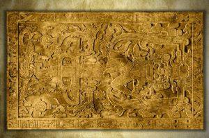 """Die Grabplatte von Palenque mit einem """"Astronautengott""""!? Als Leinwand-Druck: hier im Shop erhältlich!"""