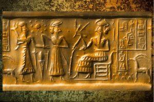 """Leinwand-Druck: Das """"Nibiru-Rollsiegel"""" aus Mesopotamien mit unserem Sonnensystem"""