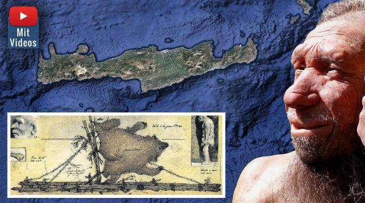 Vor 130.000 Jahren gelangten unsere Ahnen auf die Insel Kreta - per Boot (Bild: Google Earth / The Plakias Project / WikiCommons / Montage: Fischinger-Online)