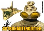 Aufkleber klein transparent Astronautengötter mit Dogu-Figur Goldflieger und Nazca-Spinne1