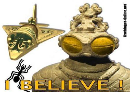 Aufkleber-klein-transparent-I-believe-mit-Dogu-Figur-Goldflieger-und-Nazca-Spinne1-1