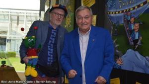 Reinhard Habeck und der Rüsselmops mit Erich von Däniken 2015 in Interlaken
