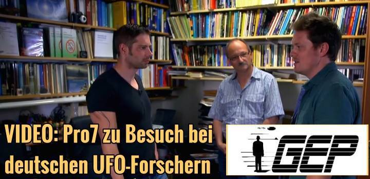 """Screenshot der Galilo-Sendung von Pro7 am 27. Mai 2016 mit den UFO-Forschern André Kramer (rechts) und Hans-Werner Peininger (Mitte) von der """"Gesellschaft zur Erforschung des UFO-Phänomens"""" (Bild: Screenshot Pro7-Video)"""