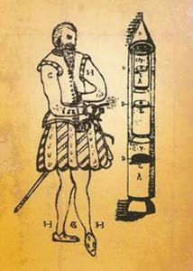 Conrad Haas und eine seine Raketen (Bild: gemeinfrei)