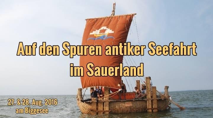 Mit einem Nachbau eines altägyptischen Seglers geht es am 27. und 28. August 2016 auf den Biggesee im Sauerland (Bild: D. Görlitz)
