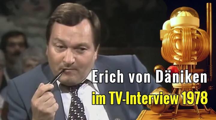 Erich von Däniken im TV-Interview 1978 über die Manna-Maschine Astronauten in der Bibel und seine Suche nach der Wahrheit (Bild: YouTube-Screenshot / Archiv / Montage: L. A. Fischinger)