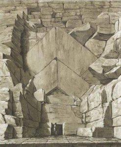 Der ursprüngliche Eingang in die Cheops-Pyramide / Zeichnung (Bild: gemeinfrei)