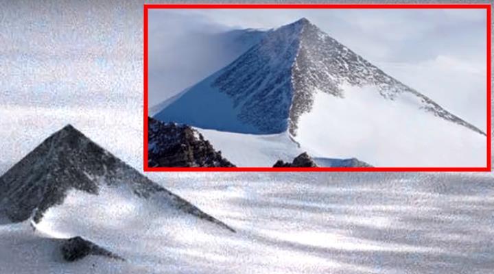 Ungläubiges Staunen in der Presse und bei Facebook: Wurden uralte Pyramiden im Eis der Antarktis entdeckt? (Bilder: Screenshot YouTube)
