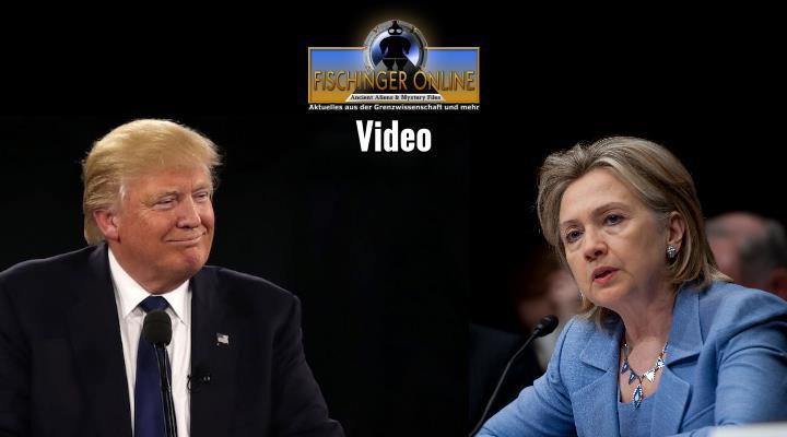 Donald Trump, Hillary Clinton und die UFOs - Video von Fischinger-Online auf YouTube (Bilder: WikiCommons/gemeinfrei / Montage: L. A. Fischinger)