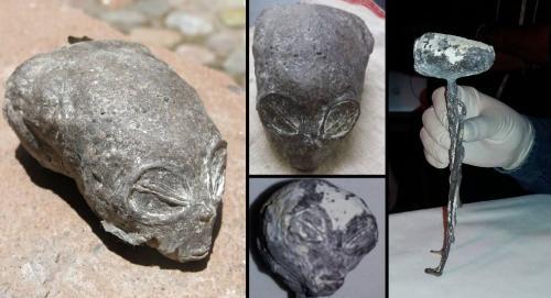 Die angeblichen Alien-Leichen aus Peru - Zur Großansicht anklicken (Bilder: E. Vivanco / Collage: L. A. Fischinger)
