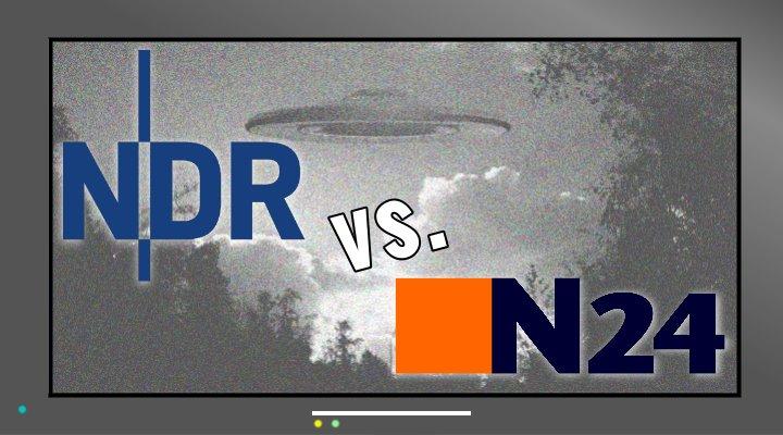 """Der öffentlich-rechtliche NDR brachte kürzlich in der Sendung """"ZAPP"""" einen Beitrag über die UFO-Dokus, die auf dem privaten TV-Nachrichtensender N24 laufen (Bilder: WikiCommons/gemeinfrei / Montage: L. A. Fischinger)"""