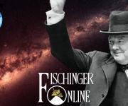 Ein wissenschaftlicher Vordenker: Winston Churchill glaubte an ferne Planeten und Aliens (Bilder: WikiCommons/gemeinfrei / NASA/JPL / Montage: L. A. Fischinger)