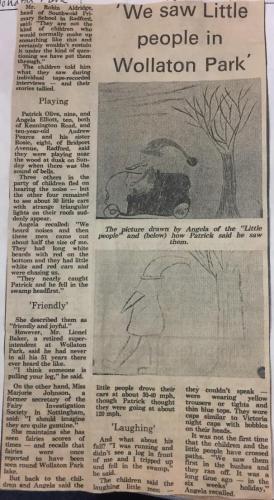 """""""Wir sahen kleine Leute im Wollaton Park"""": Zeitungsmeldung von 1979 (Bild: Nottingham Post)"""