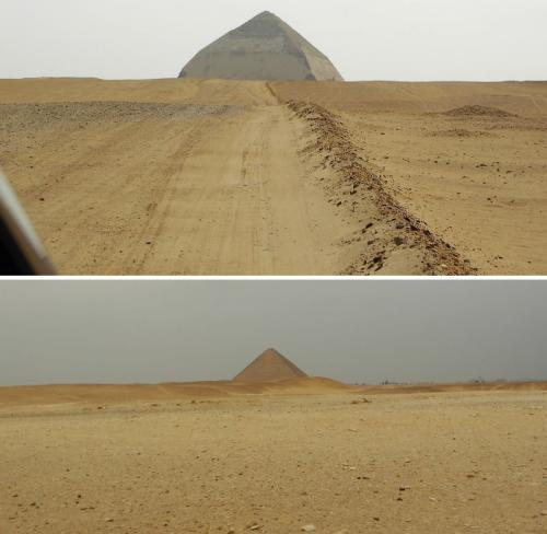 """Die Knickpyramide (oben) und die perfekte """"Rote Pyramide"""" von Dahschur von der """"Knickpyramide"""" ausgesehen (Bilder: L. A. Fischinger)"""