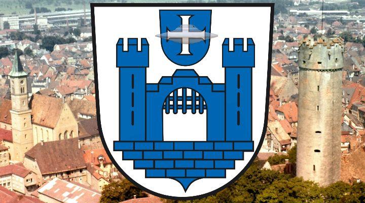 Ravensburgerin von der Polizei aufgegriffen, da sie angeblich von Außerirdischen verfolgt wurde! (Bild: Wappen & historische Ansicht von Ravensburg/gemeinfrei / Bearbeitung: L. A. Fischinger)