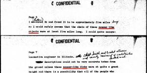 Auszüge aus dem Schreiben von Kenneth Arnold an die US-Air Force von 1947 (Bilder: gemeinfrei)