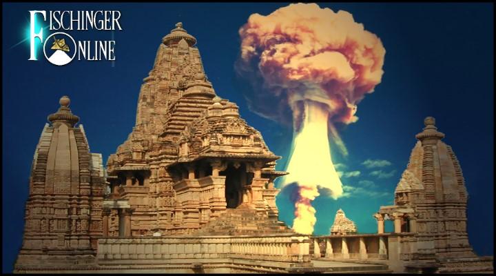 Hinweise in alten Texten: Gab es schon vor Jahrtausenden Atombomben-Explosionen im Alten Indien? (Bilder: gemeinfrei / Montage: L. A. Fischinger)