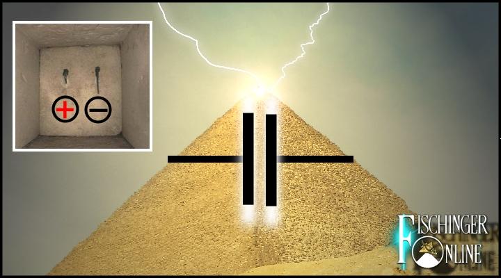 Die Cheops-Pyramide: Ein Blitz-Strom-Kraftwerk? (Bild & Montage: L. A. Fischinger/Archiv)