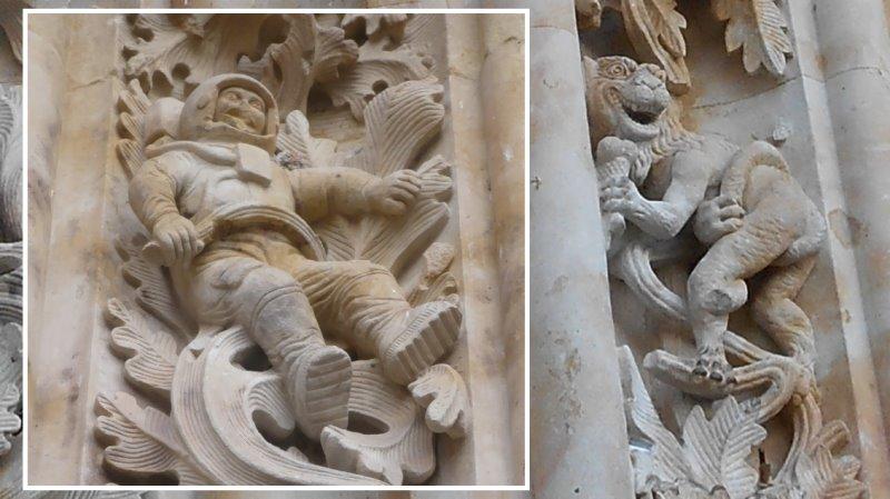 Der Astronaut und der Dämon mit einem Eis an der Kathedrale von Salamanca (Bilder: gemeinfrei)