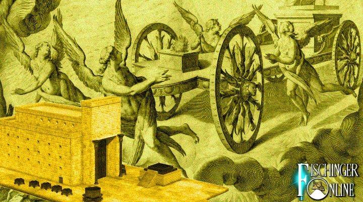 Die Flugwagen des König Salomon: Angeblich hatte der weise Herrscher aus der Bibel fliegende Wagen (Bilder: Jerusalemer Tempel und fromme Darstellung der Vision des Ezechiel, gemeinfrei / Montage: L. A. Fischinger)