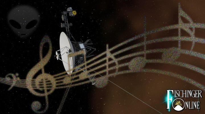 """Die Raumsonde """"Voyager"""": sie trägt Musik und Botschaften an Außerirdische seit 40 Jahren durch das All (Bilder: NASA / gemeinfrei / Montage: Fischinger-Online)"""