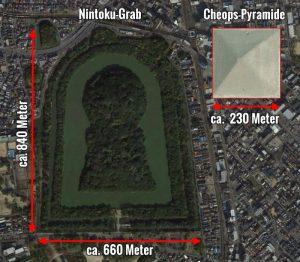 """""""Schlüsselloch-Grab"""" von Kaiser Nintoku im Vergleich zur Cheops-Pyramide (Bild: Google Earth / Bearbeitung: Fischinger-Online)"""