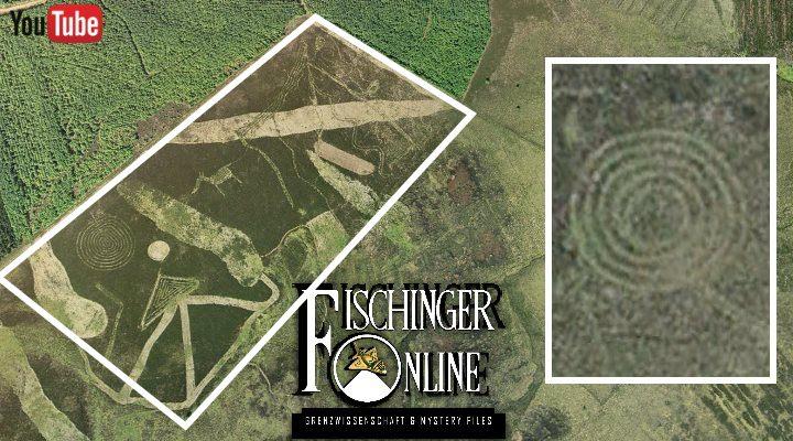 """Was bedeuten die Rätselhaften Bodenzeichnungen in Schottland? Ein """"Nazca Europas"""" ...? (Bilder: Google Earth / Montage: Fischinger-Online)"""