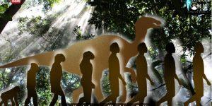 Jurassic Park live! Existierten Dinosaurier und Menschen einst gemeinsam? (Bilder: gemeinfrei / Montage: Fischinger-Online)