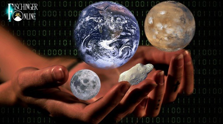 Das Wissen und die Kultur der Menschheit sollen in digitaler Form für Außerirdische im All sicher verfahrt werden (Bilder: gemeinfrei / Montage: Fischinger-Online)