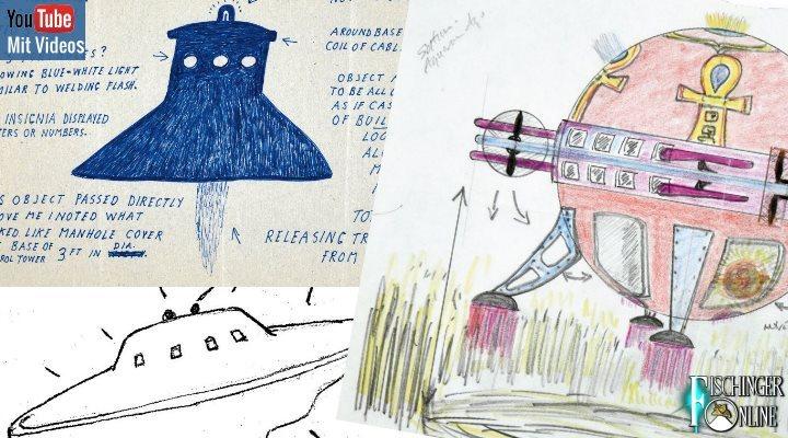 Die UFO-Jagd des britischen Verteidigungsministeriums - Skurrile UFO-Zeichnungen des MoD in der Mainstreampresse (Bilder MoD/National Archives / Collage: Fischinger-Online)