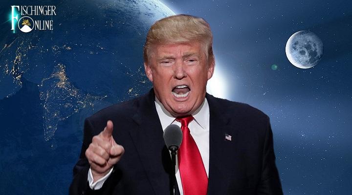US-Präsident Donald Trump bringt eine Richtlinie zur Einrichtung einer Weltraum-Kampftruppe auf dem Weg (Bilder: gemeinfrei / Montage: Fischinger-Online)